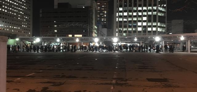 地震後の札幌駅前タクシー乗り場